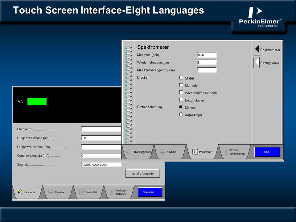 Touch Screen Interface-Eight Languages