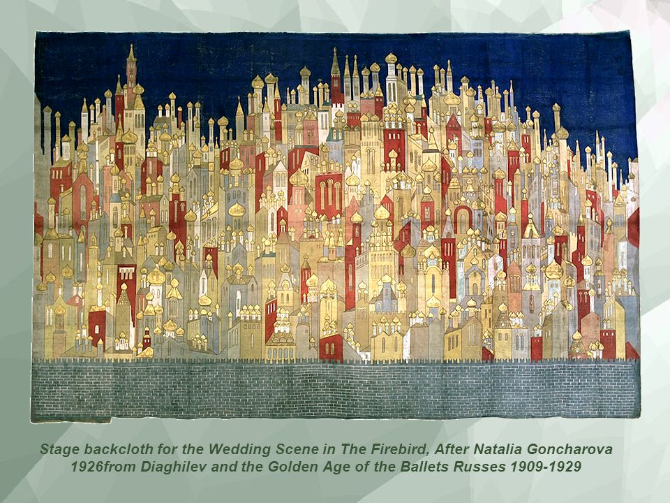 Stage backcloth for the Wedding Scene in The Firebird, After Natalia Goncharova 1926from Diaghilev and the Golden Age of the Ballets Russes 1909-1929