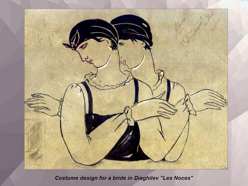 Costume design for a bride in Diaghilev Les Noces