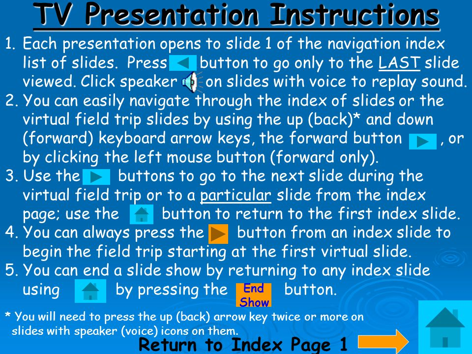 TV Presentation Instructions