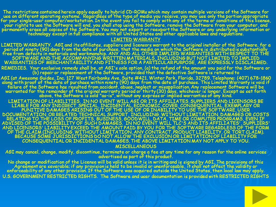 The restrictions contained herein apply equally to hybrid CD-ROMs which may contain multiple versions of the Software for use on different operating systems. Regardless of the type of media you receive, you may use only the portion appropriate for your single-user computer/workstation. In the event you fail to comply with any of the terms or conditions of this license, your rights to use the Software will end, you shall stop using the Software, remove the Software from your computer, and permanently erase all copies of the Software. You may not export or reexport the Software or any underlying information or technology except in full compliance with all United States and other applicable laws and regulations.