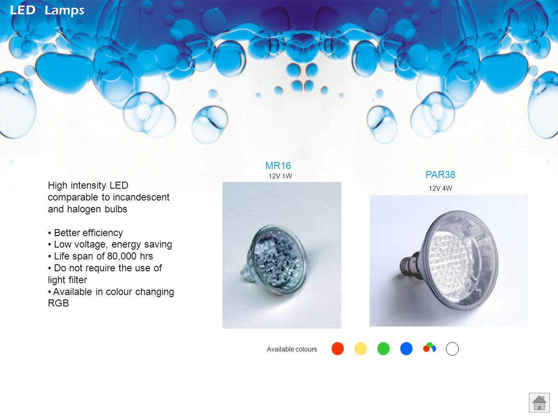 LED Lamps MR16. PAR38. 12V 1W. High intensity LED comparable to incandescent and halogen bulbs.