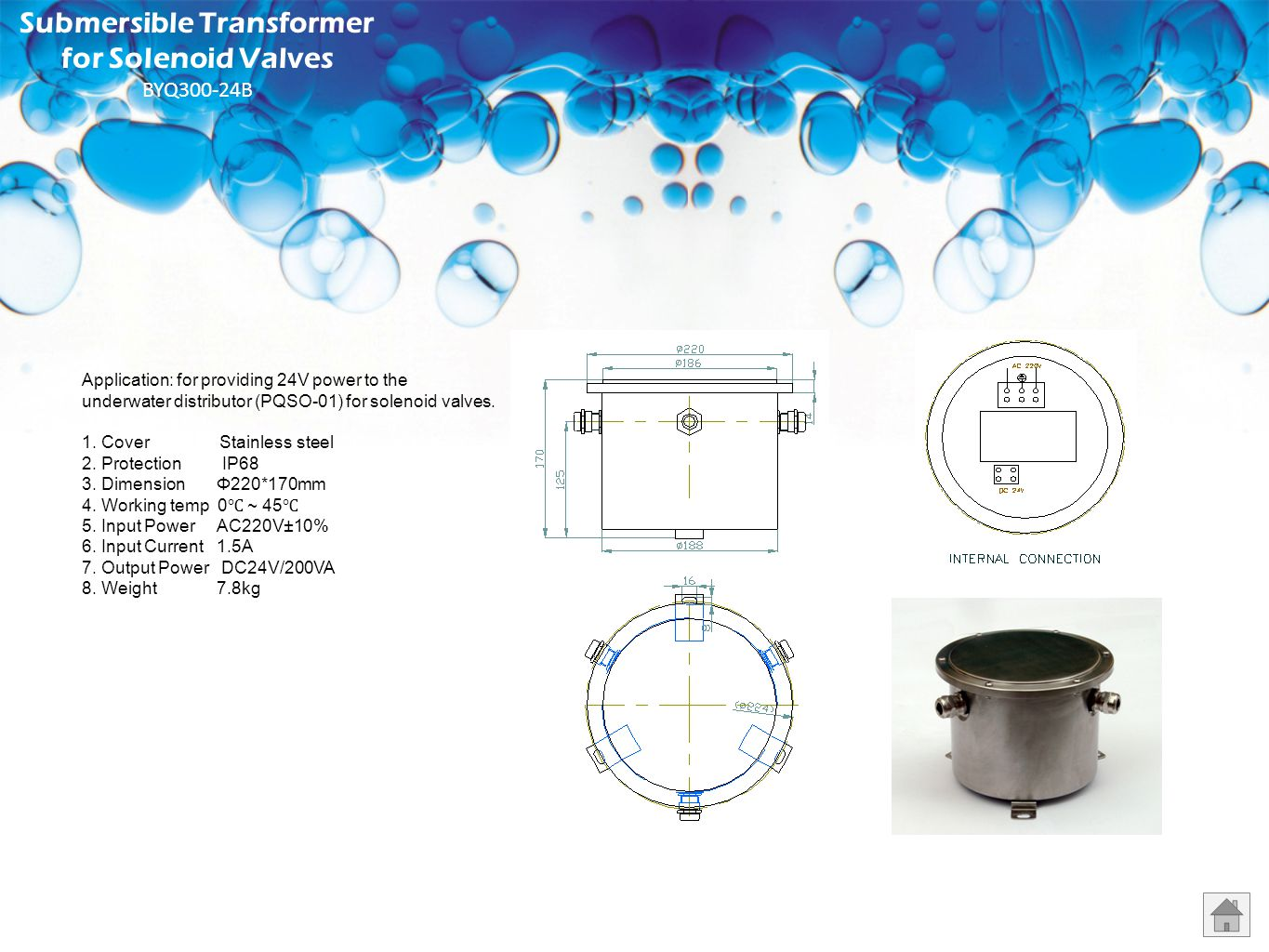Submersible Transformer for Solenoid Valves BYQ300-24B