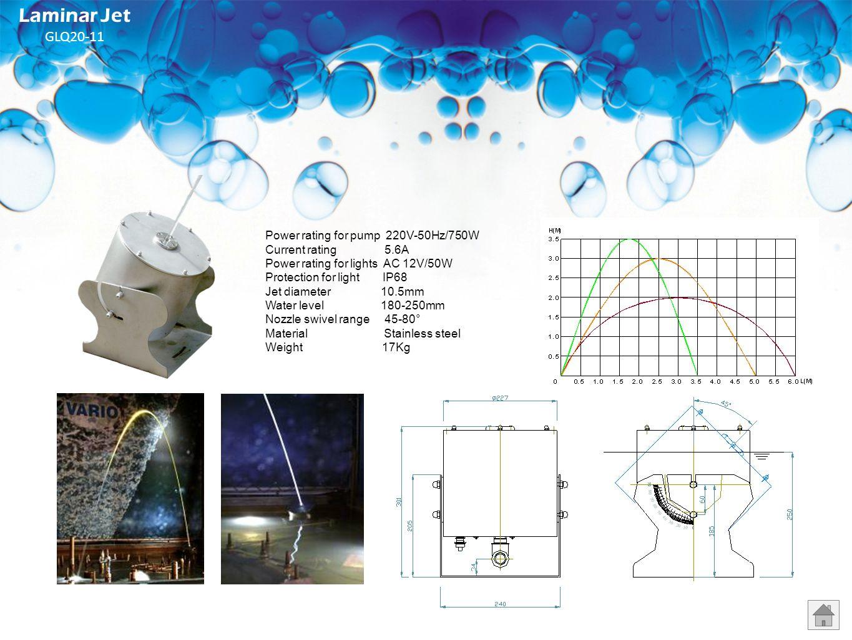 Laminar Jet GLQ20-11 Power rating for pump 220V-50Hz/750W