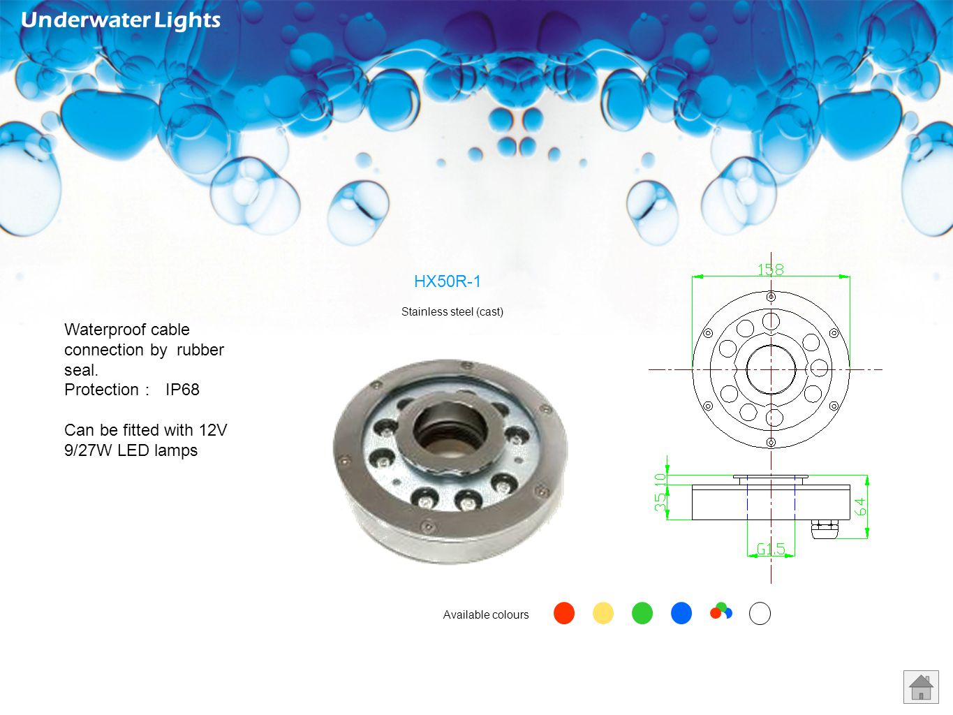 Underwater Lights HX50R-1 Waterproof cable connection by rubber seal.