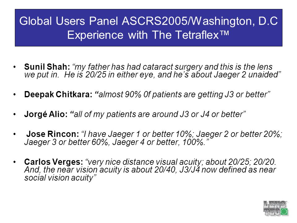 Global Users Panel ASCRS2005/Washington, D
