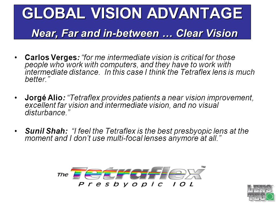 GLOBAL VISION ADVANTAGE Near, Far and in-between … Clear Vision