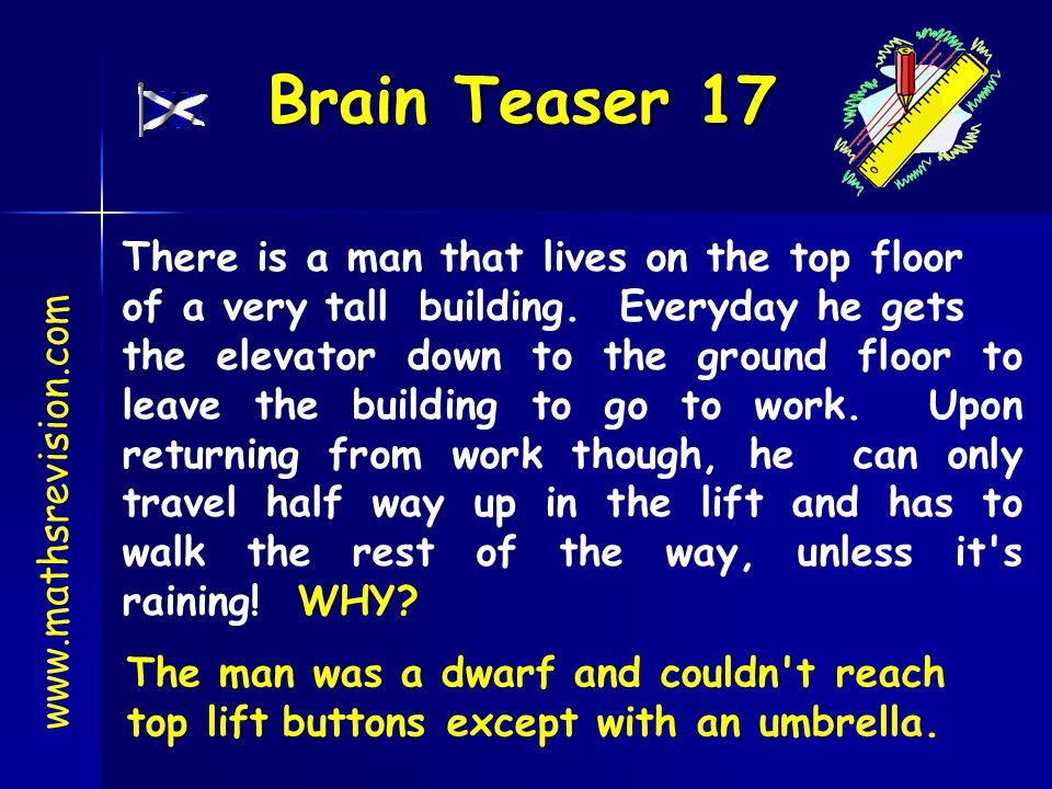 Brain Teaser 17 There is a man that lives on the top floor