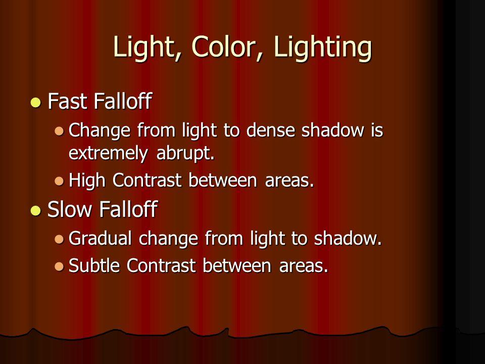 Light, Color, Lighting Fast Falloff Slow Falloff