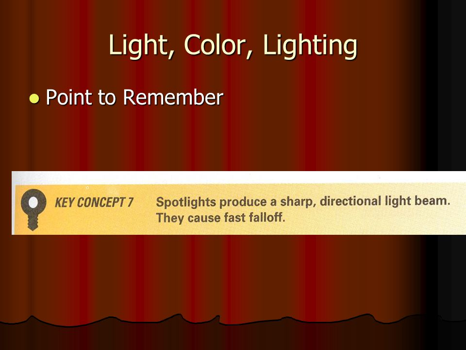 Light, Color, Lighting Point to Remember
