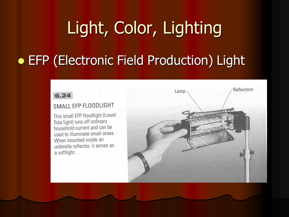 Light, Color, Lighting EFP (Electronic Field Production) Light