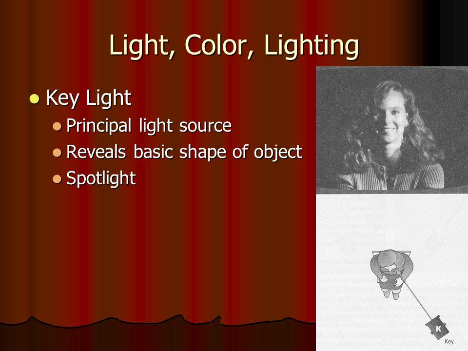 Light, Color, Lighting Key Light Principal light source
