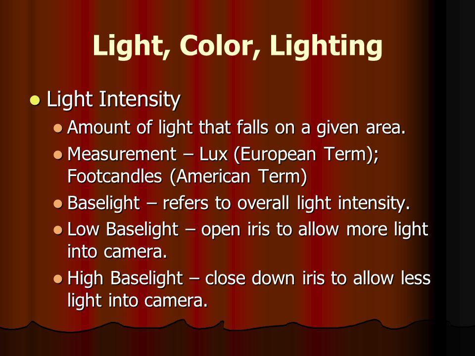 Light, Color, Lighting Light Intensity