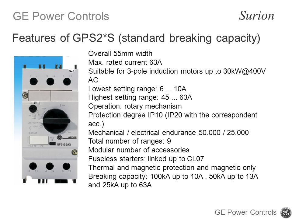 Features of GPS2*S (standard breaking capacity)