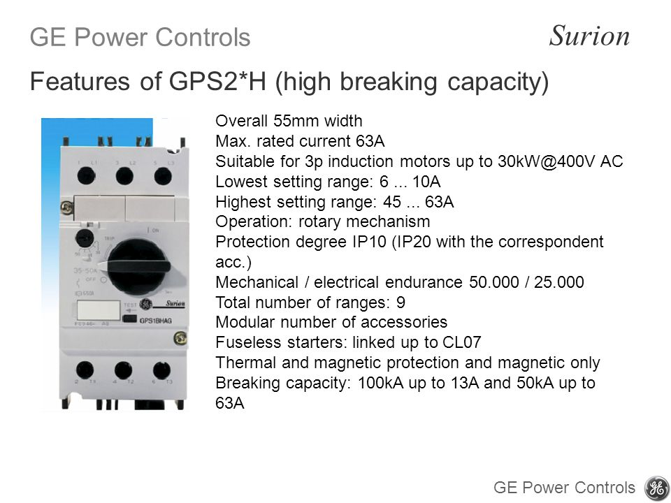 Features of GPS2*H (high breaking capacity)