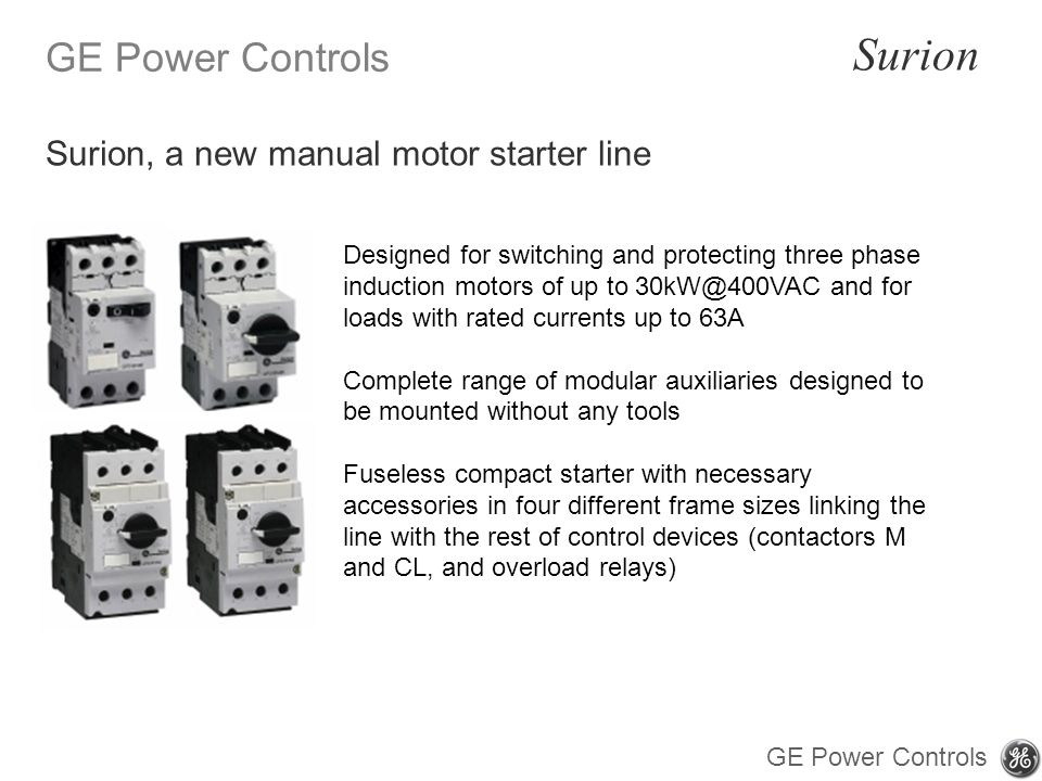 Surion, a new manual motor starter line