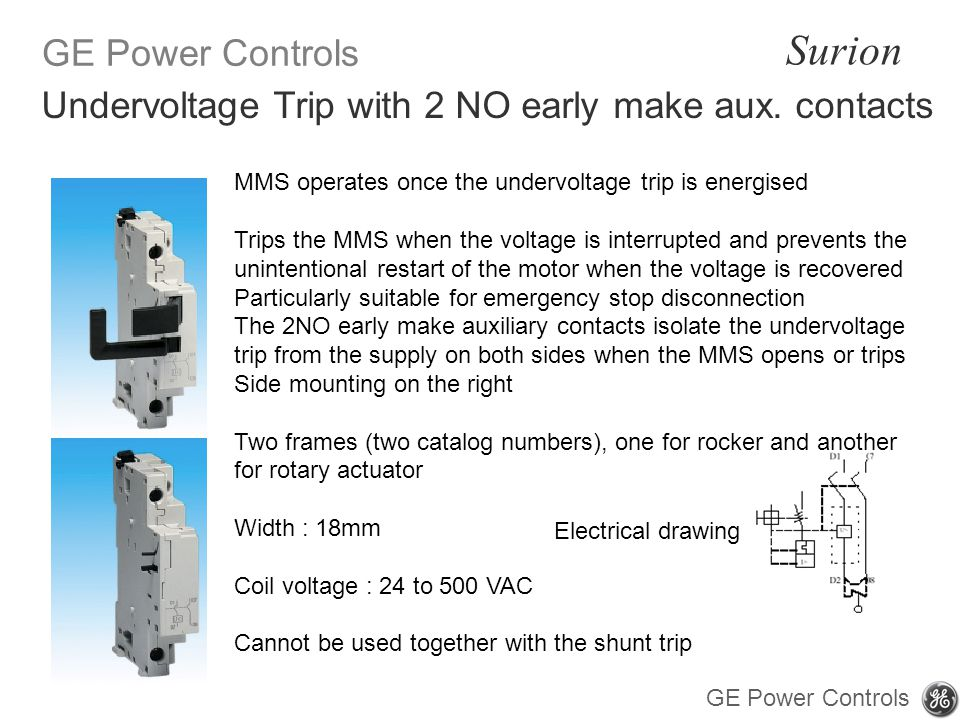 Undervoltage Trip with 2 NO early make aux. contacts