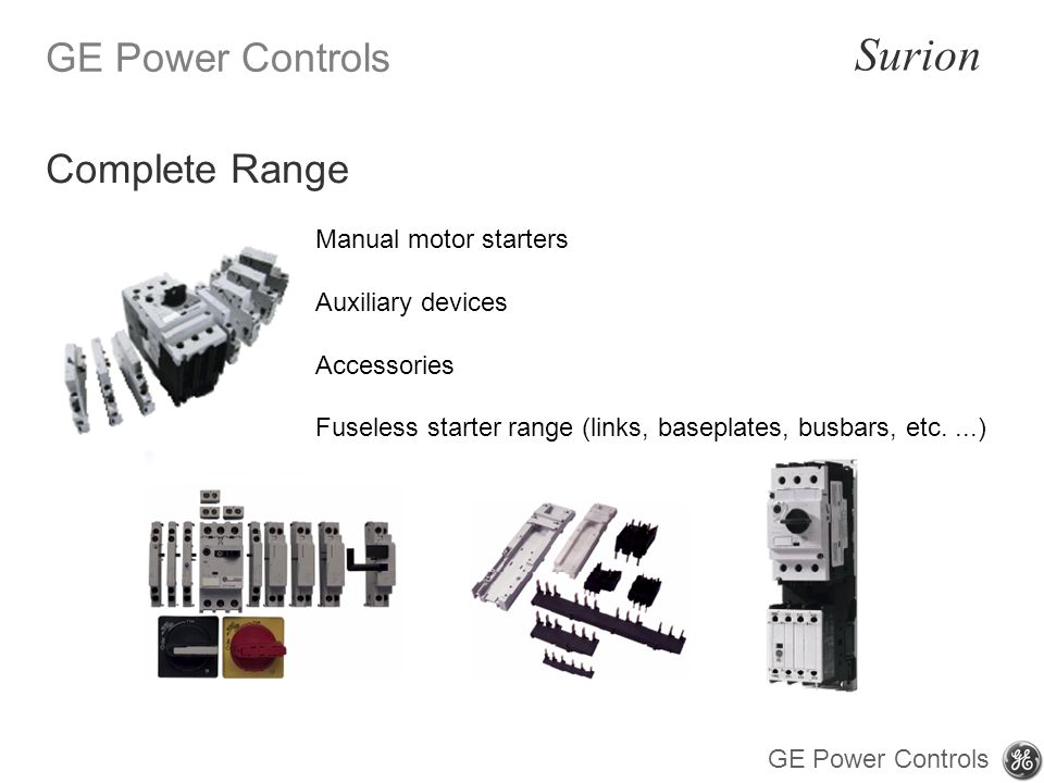 Complete Range Manual motor starters Auxiliary devices Accessories