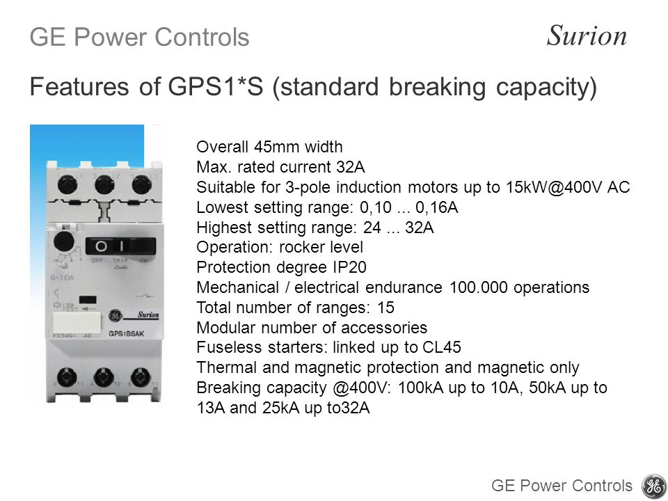 Features of GPS1*S (standard breaking capacity)