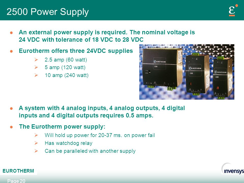 2500 Power Supply An external power supply is required. The nominal voltage is 24 VDC with tolerance of 18 VDC to 28 VDC.