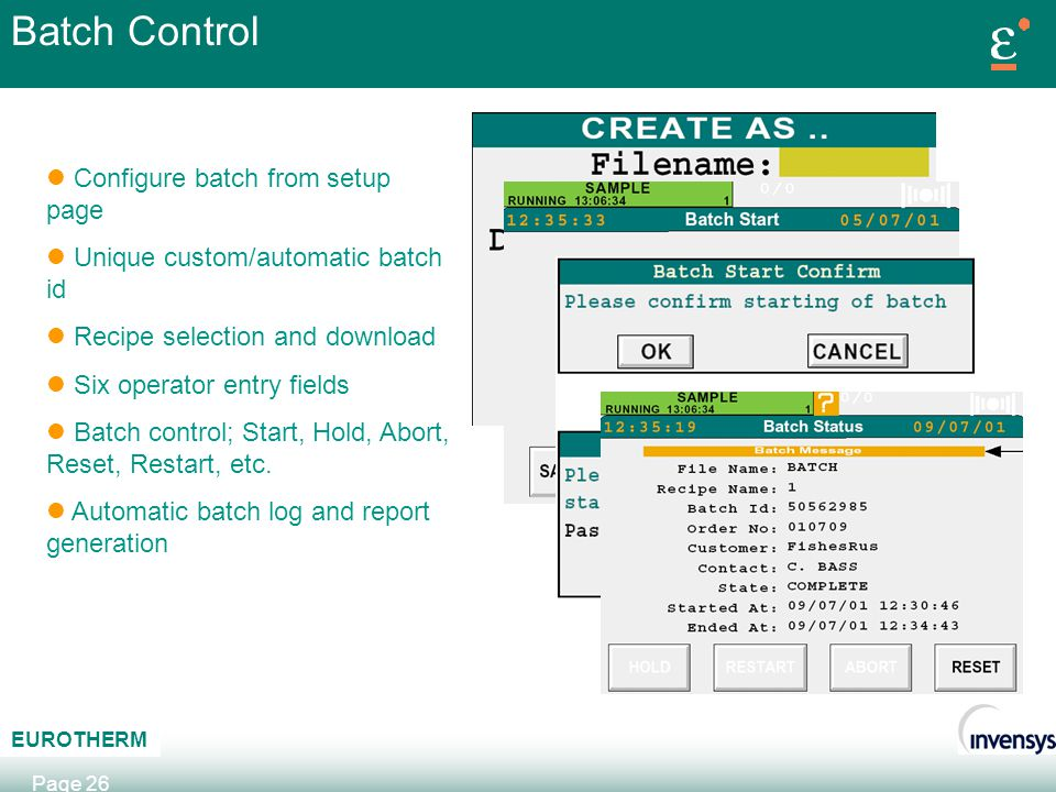Batch Control Configure batch from setup page
