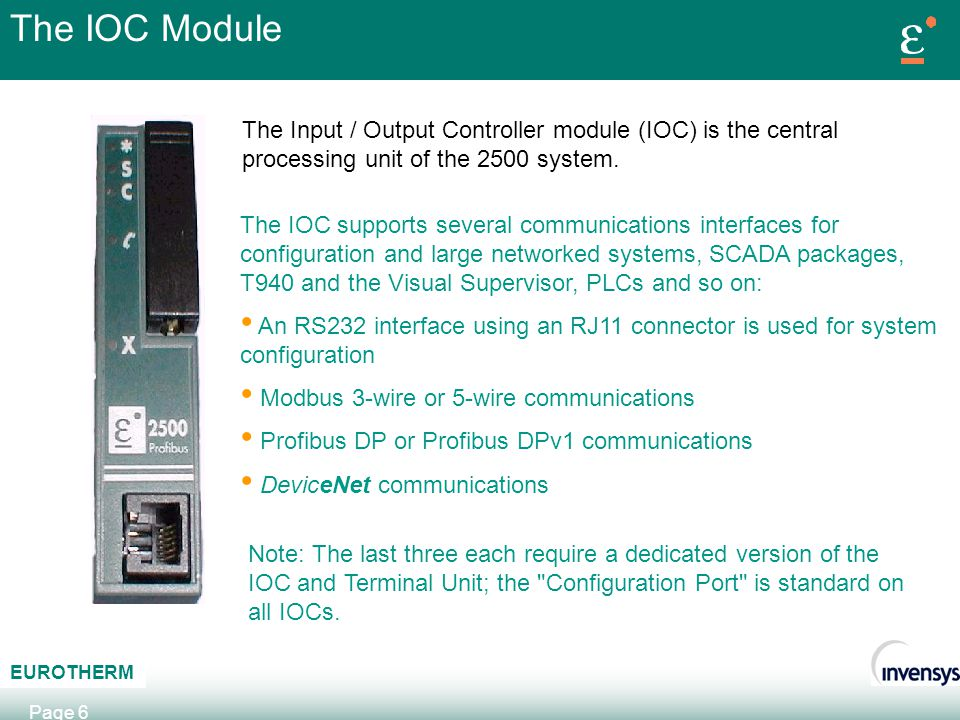 The IOC Module The Input / Output Controller module (IOC) is the central processing unit of the 2500 system.