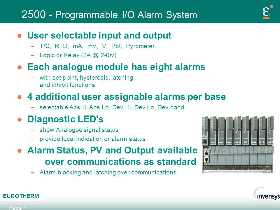 2500 - Programmable I/O Alarm System