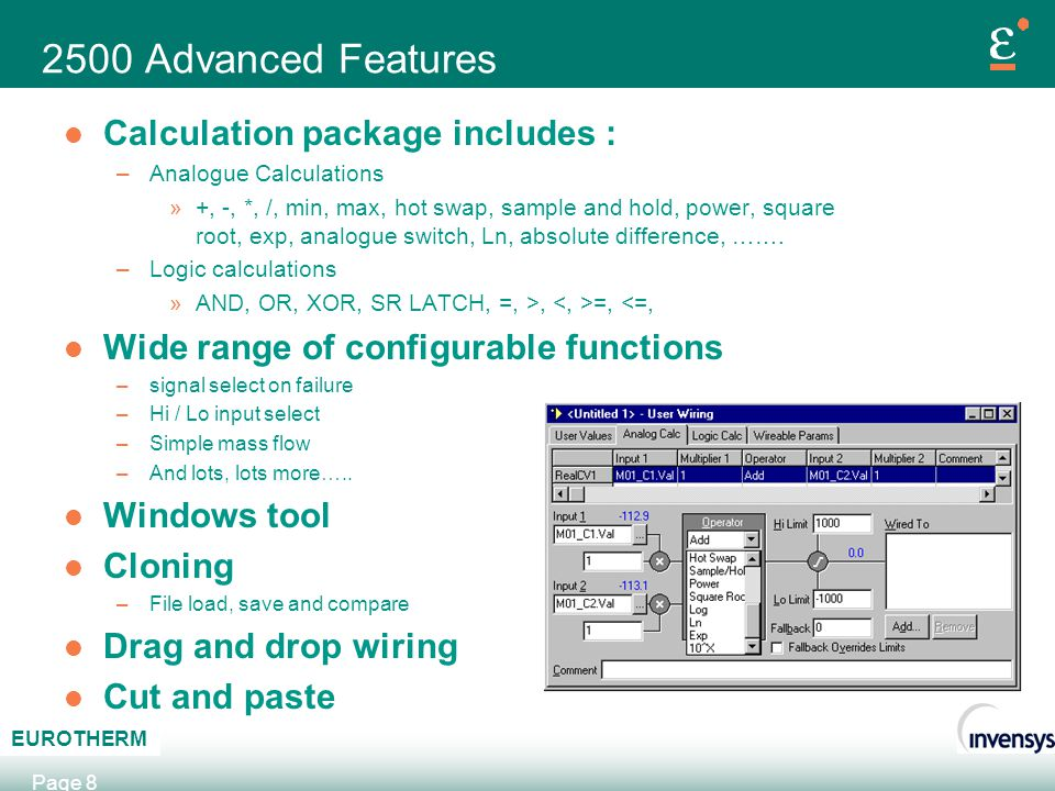 2500 Advanced Features Calculation package includes :