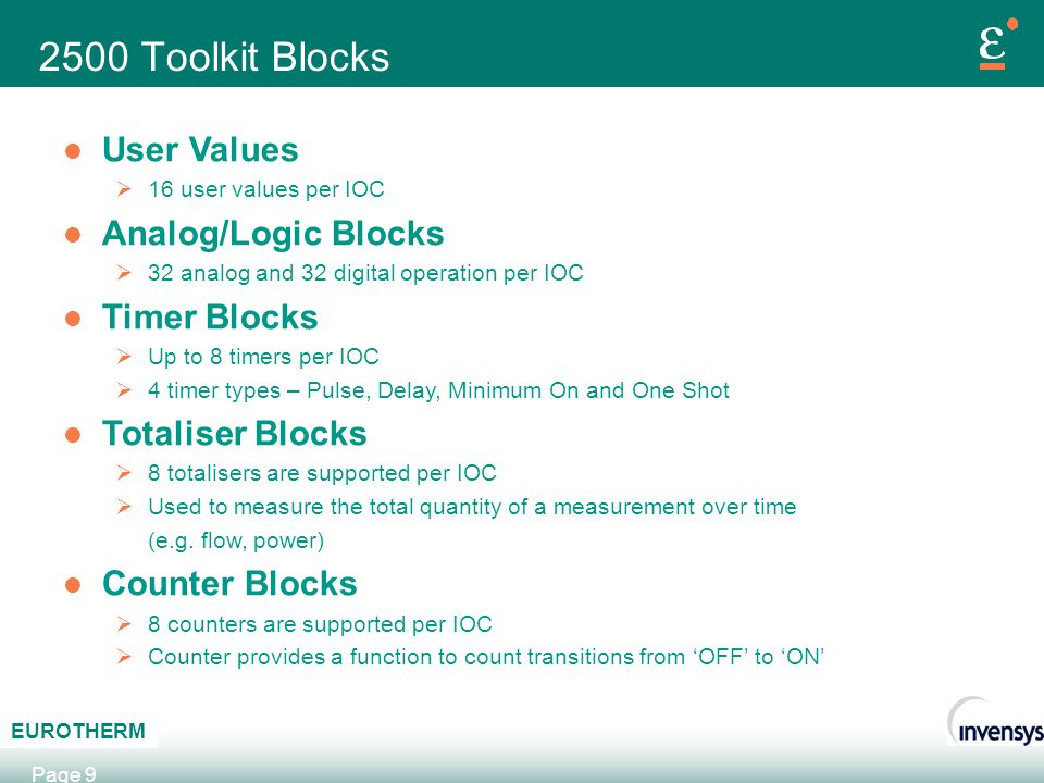 2500 Toolkit Blocks User Values Analog/Logic Blocks Timer Blocks