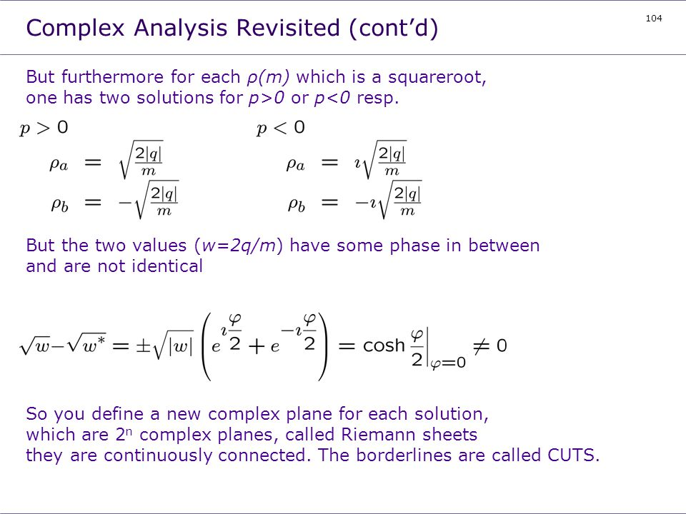 Complex Analysis Revisited (cont'd)