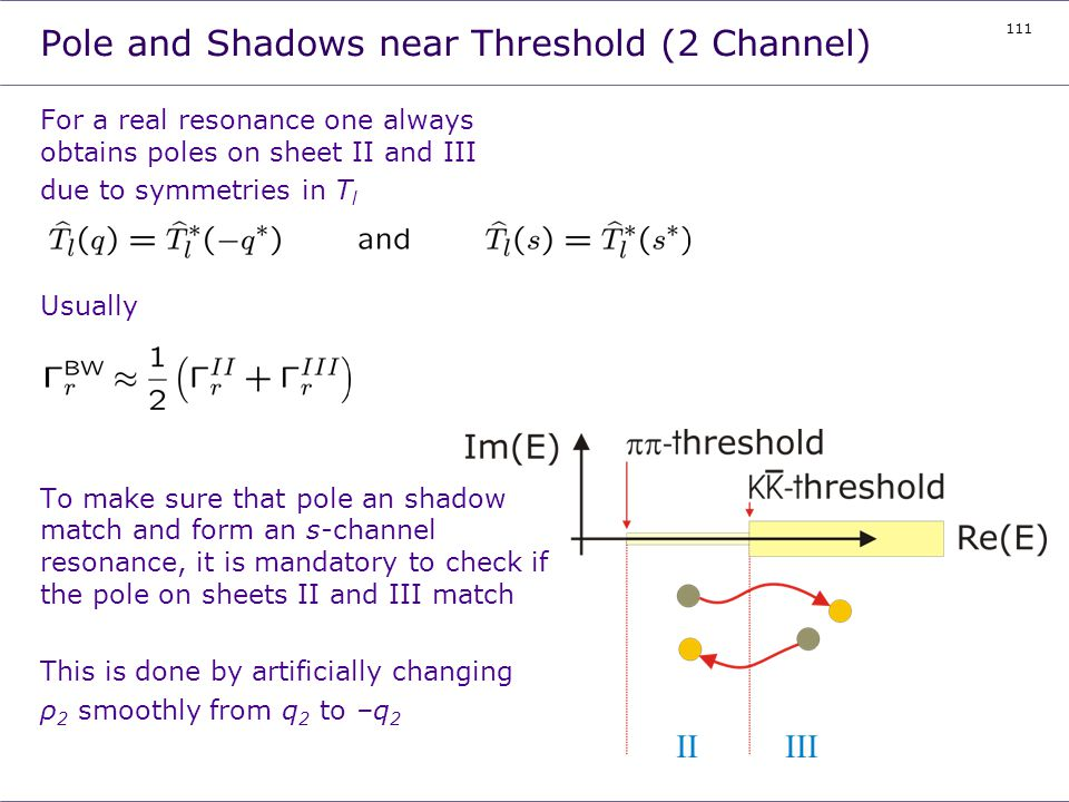 Pole and Shadows near Threshold (2 Channel)