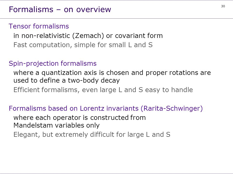 Formalisms – on overview