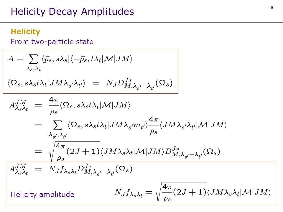 Helicity Decay Amplitudes
