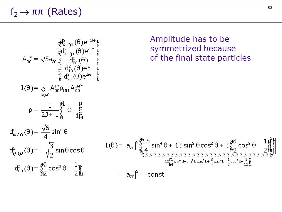 f2 ® ππ (Rates) Amplitude has to be symmetrized because of the final state particles