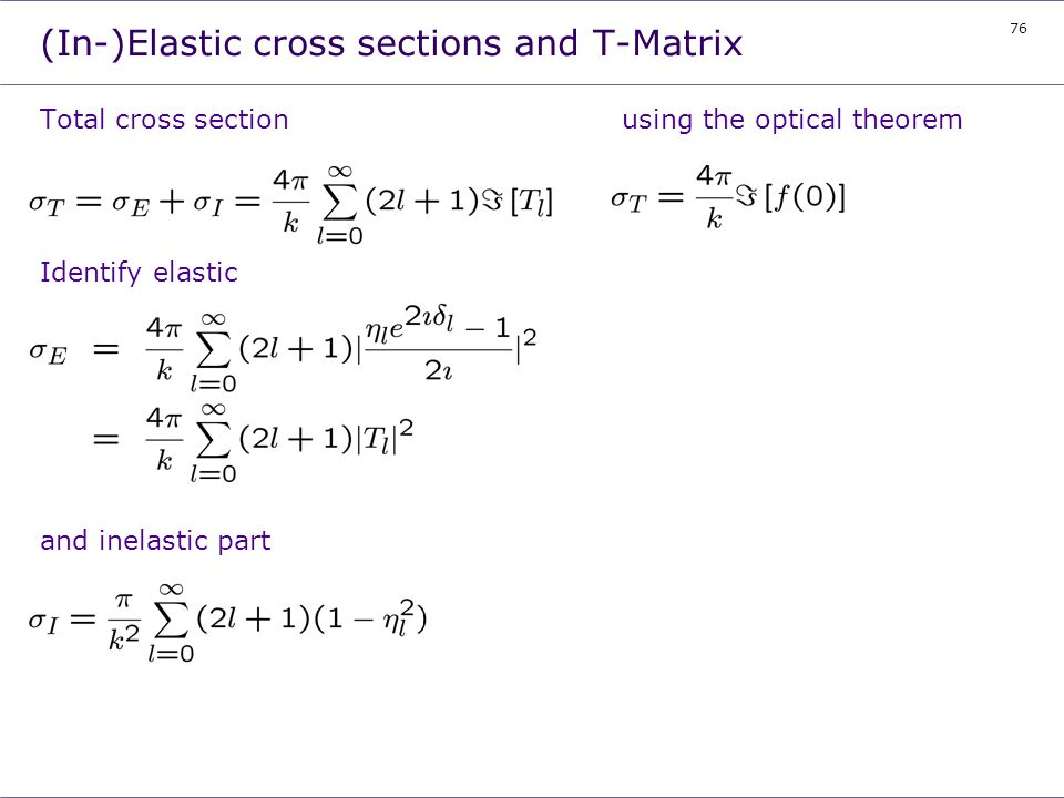 (In-)Elastic cross sections and T-Matrix