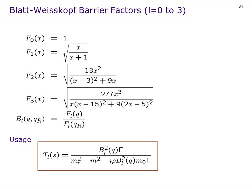 Blatt-Weisskopf Barrier Factors (l=0 to 3)
