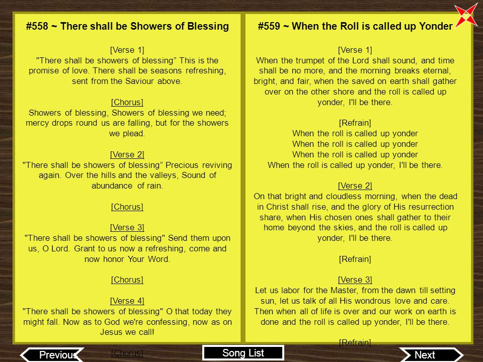 #558 ~ There shall be Showers of Blessing