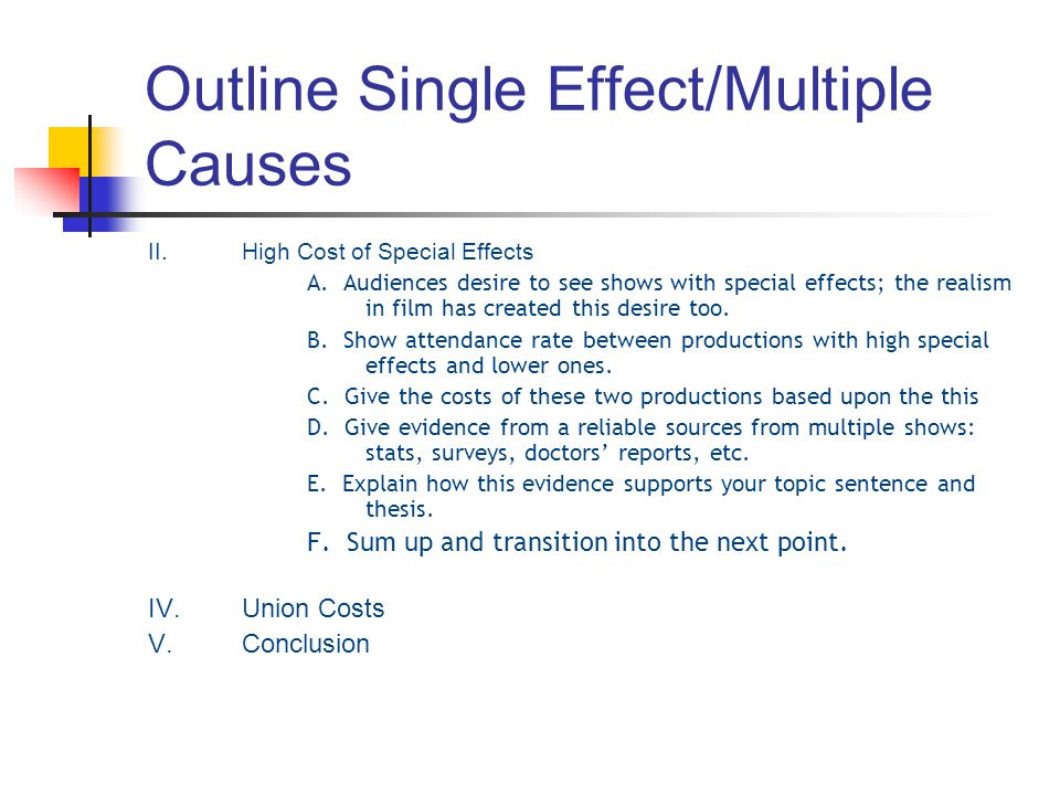 Outline Single Effect/Multiple Causes
