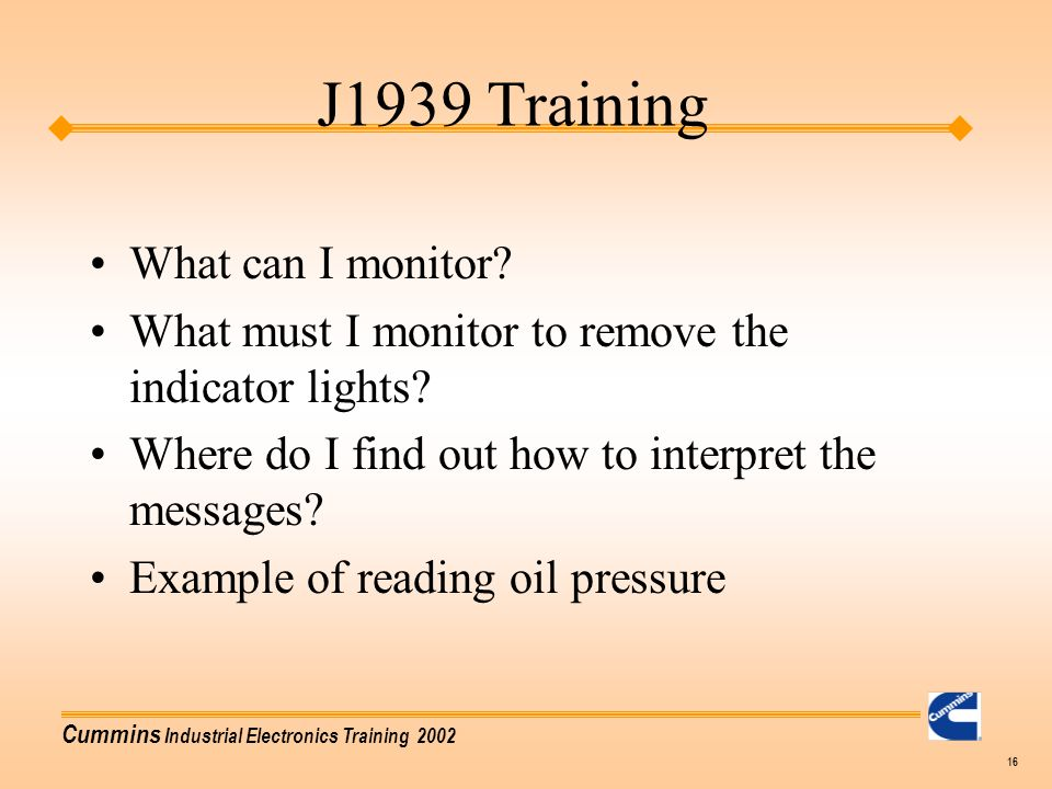 J1939 Training What can I monitor
