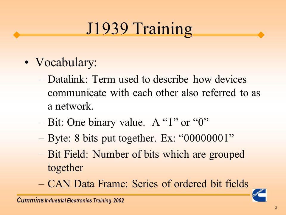 J1939 Training Vocabulary: