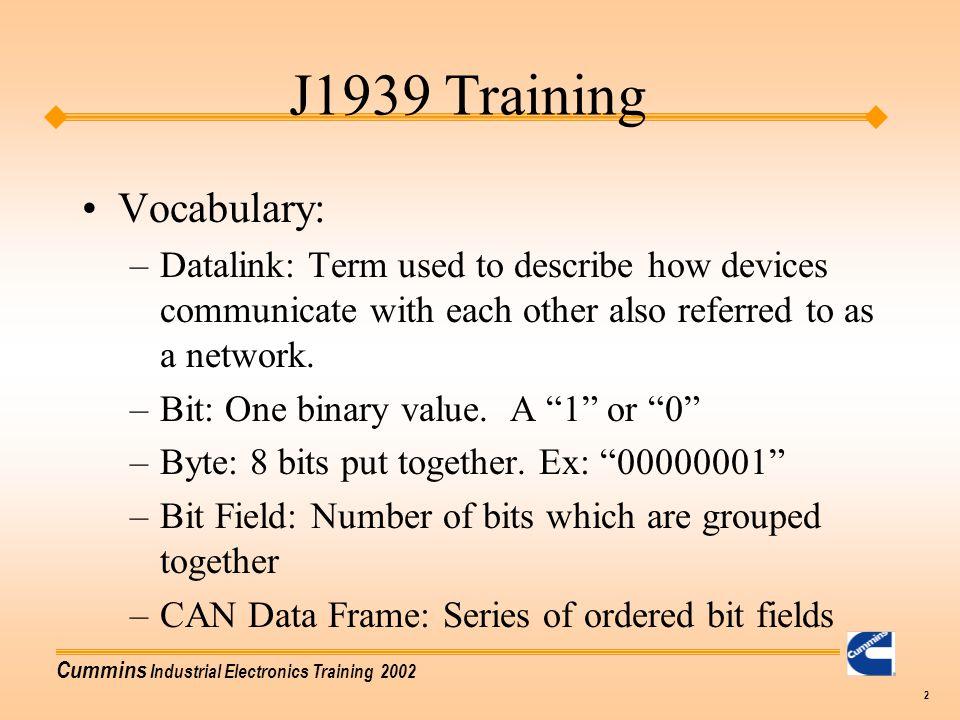 J1939 Training Vocabulary:
