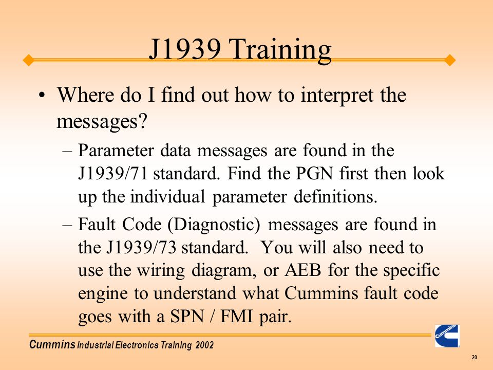 J1939 Training Where do I find out how to interpret the messages