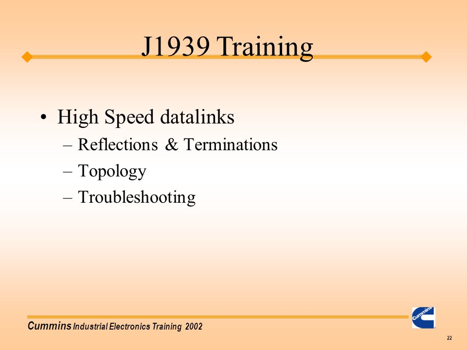 J1939 Training High Speed datalinks Reflections & Terminations