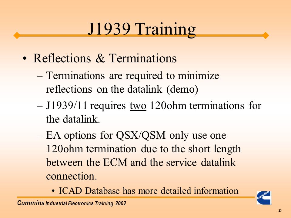 J1939 Training Reflections & Terminations