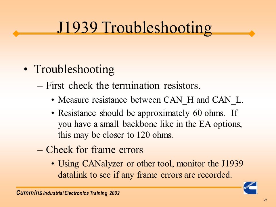 J1939 Troubleshooting Troubleshooting