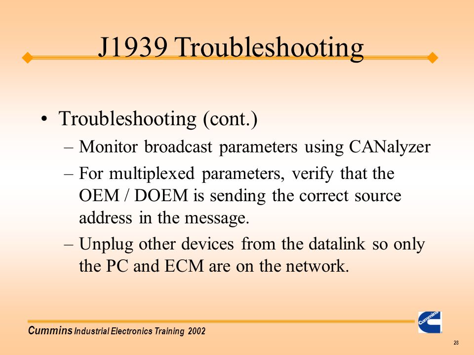 J1939 Troubleshooting Troubleshooting (cont.)