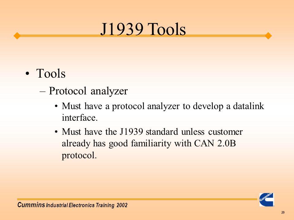 J1939 Tools Tools Protocol analyzer