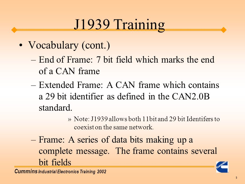 J1939 Training Vocabulary (cont.)