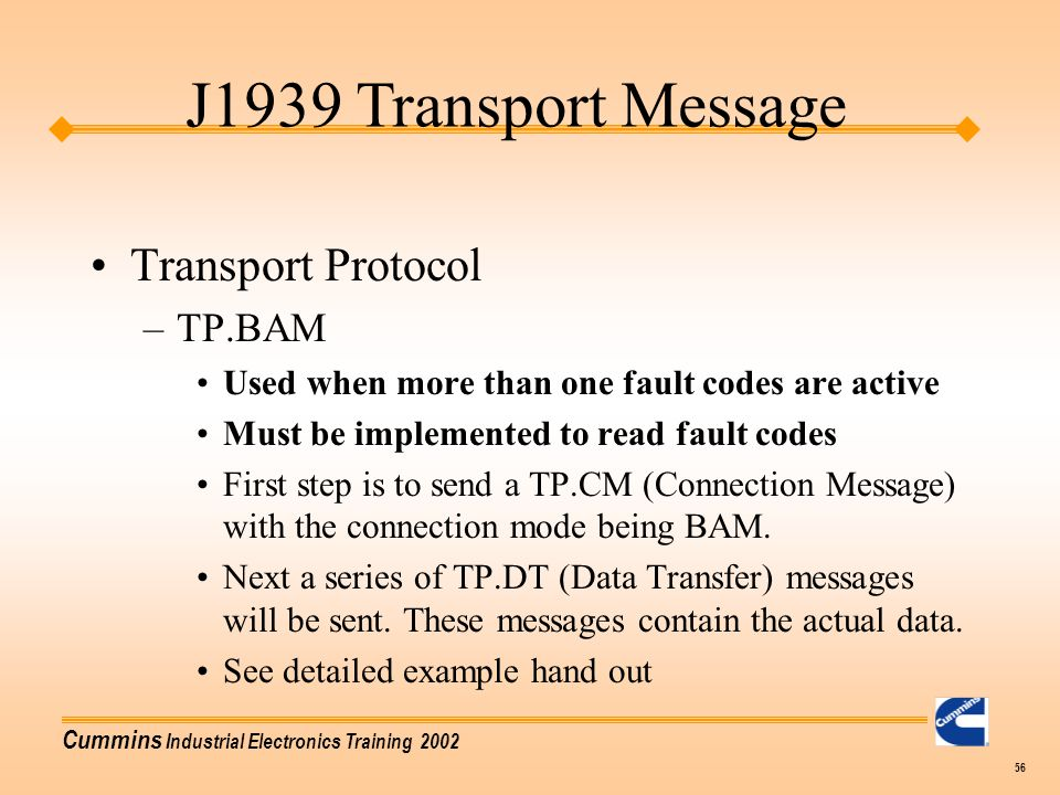 J1939 Transport Message Transport Protocol TP.BAM