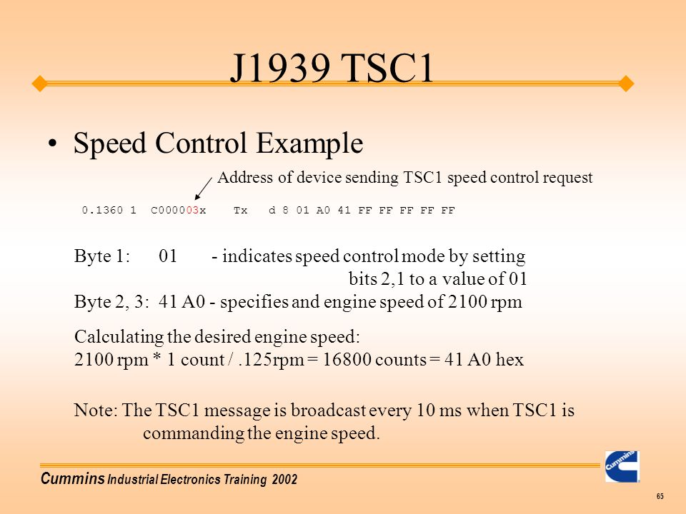 J1939 TSC1 Speed Control Example